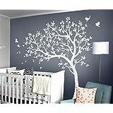 Witte boom Muurstickers Grote kwekerij boom Stickers met vogels prachtige witte boom Muurschildering verwijderbare vinyl muur