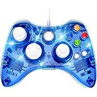 PAWHITS Manette Filaire Xbox 360 Filaire Gamepad Contrôleur de Jeu avec Double Vibration, Bleu