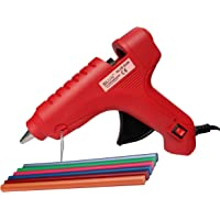 Glun 80W Hot Melt Glue Gun with On Off Switch and Led Indicator (Red Gun with 6 Colored Sticks)