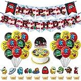 Among Us Party Supplies Juego de suministros para fiestas de cumpleaños para niños con pancartas de Globos de cumpleaños feli