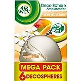 Air Wick Decosphere - Ambientador coche y casa decorativo, con aroma a Mango y lima - pack de 6