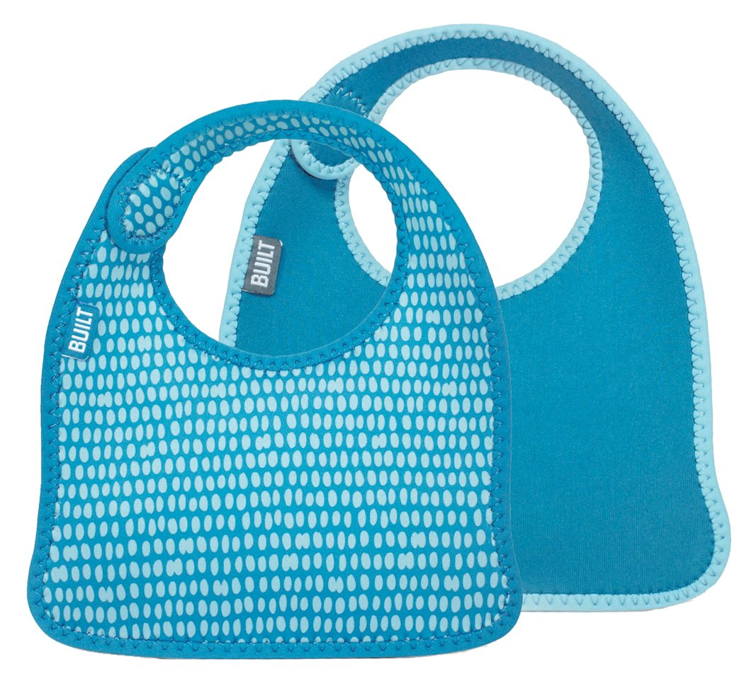 Built NY - Bavaglino per neonato con pois, confezione da 2 pz, colore: Blu