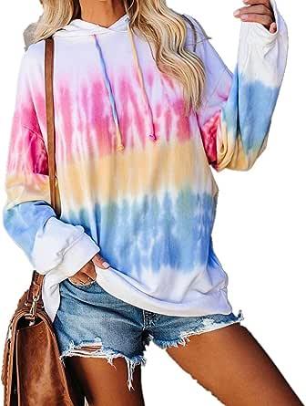 Maglione con Cappuccio Autunno e Inverno da Donna, Pullover Moda con Stampa Tie-Dye, Colori Vivaci, Stile Casual