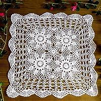 Yazi cuadrado blanco mantel hecho a mano ganchillo flor de servilleta funda para sofá dormitorio sala