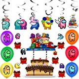 BAIBEI 43Pcs Birthday Party Decoration Set, Cake Topper, Cupcake Toppers, Hanging Swirl Decorations, Balloons for Party Decor