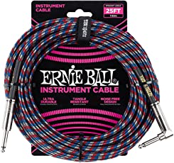 Ernie Ball Instrument Cable, Red/White/Blue/Black, 25 ft
