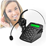 AGPtek Dialpad Monaural Corded Headset Headphone Telephone with Tone Dial Key Pad and Redial
