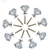 MINGZE 12 Stuks 30mm Crystal Deurklink, Diamond Rhombic Design Clear Knoppen Multipurpose Deurknoppen Met Schroefjes Dresser