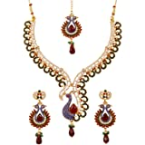 Touchstone Indian Bollywood white Rhinestone blue faux sapphire deep red faux ruby and faceted glass drops ethnic peacock mot