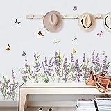 decalmile Pegatinas de Pared Flores de Lavanda Púrpura Vinilos Decorativos Hierba Rodapié Adhesivos Pared Dormitorios Salón C