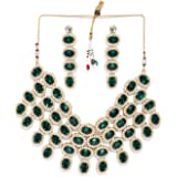 Zaveri Pearls Green Stones & Pearls Studded Traditional Choker Necklace Set For Women-ZPFK8645