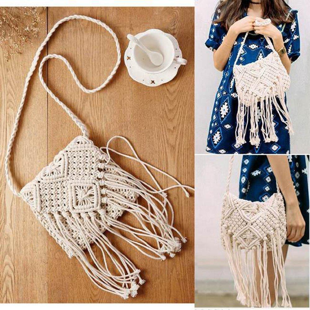 bc62c18696b1b mixinni® Schultertasche Retro Strick gewebte Strandtaschen Umhängetasche  Taschen Sommer Crossbody  Amazon.de  Schuhe   Handtaschen