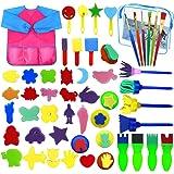 Fodlon Paint Spugne per Bambini, 52 Pezzistrumenti da Disegno per Bambini Prima Educazione Pennelli per Spugna Pennelli in Sc