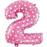 Ballon Géant numéro 2 Blanc coeur 70CM Pour Anniversaire et Anniversaire Couleur rose