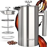 homgeek French Press Kaffeebereiter 304 Edelstahl, Kaffeebereiter Doppelwandig Isoliert 1 Liter (8 Tassen), Kaffeepresse mit