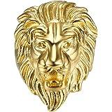 BOBIJOO JEWELRY - Anello Anello Uomo di Leone di Testa Circo Gitano Gipsy in Acciaio Placcato Oro Argento-Tono