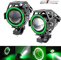 AllExtreme U7 (Mini) LED Fog Light Bike Driving DRL Fog Light Spotlight, High/Low Beam, Flashing-with Green Angel Eyes Light Ring (Pack of 2)
