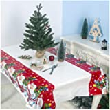 Christmas Tablecloth Tablecloth Wipe Clean PVC Vinyl Xmas Rectangle Waterproof Table Covers Oilcloth Table Cloth Plastic…