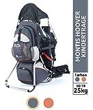 Montis Hoover Kraxe Kindertrage bis 25kg Kinder-Gewicht mit vielen Extras sowie Erweiterungen - geringes Eigengewicht, passend für beide Elternteile, geeignet für längere Wanderungen