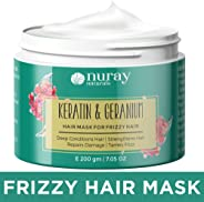 Nuray Naturals Vegan Keratin Hair Mask with Geranium for Frizzy Hair and Growth, 200 g