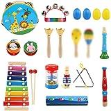 LEADSTAR Instruments de Musique pour Enfants, Instruments de Musique en Bois Percussion pour Bébé avec Xylophone, Tambourin,
