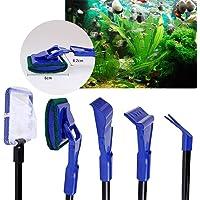 Aquamarine Aquarium Fish Tank Brush Seaweed Brush Cleaner Kit Gravel Rake Aquatic Plants Clip Fishing Net(5 in 1 Multi-Function)