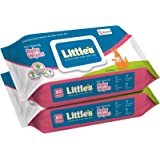 Little's Soft Cleansing Baby Wipes Lid Pack, 80 Wipes (Pack of 2)