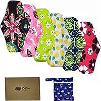 6 pièces Serviette hygiénique réutilisable en tissu de bambou Protège-slip pour femme (25,5 x 18 cm)