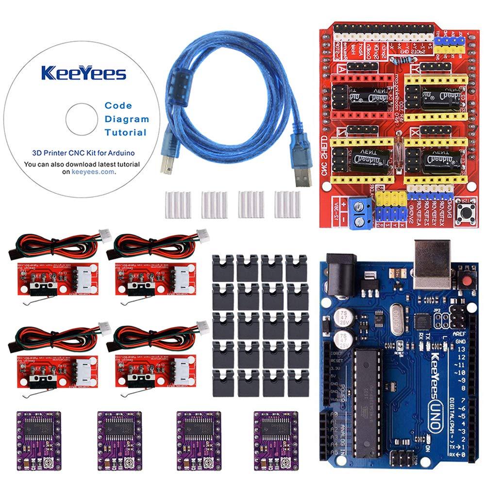 KeeYees Professional Imprimante 3D Kit, CNC Shield V3 + Carte UNO R3+ DRV8825 GRBL Modules de d'interface pour Nema 17 Moteur pas à pas + RAMPS Interrupteur mécanique Endstop