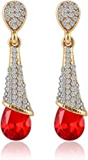 Shining Diva Fashion Gold Plated Red Crystal Fancy Party Wear Earrings for Girls and Women