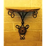 Pebble Crafts Beautiful Wood & Wrought Iron Fancy Wall Bracket Shelf for Photos and Pots