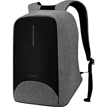 SLOTRA Anti theft Laptop Backpack with USB Charging Port 15.6 Inch Water Repellent Business Travel School Bag Check Point Friendly (Grey)