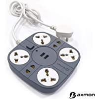 Axmon Extension Cord with 2 USB Charging Ports and 6 Socket - 10 Amp Heavy Duty Multiplug Extension Board for Multiple Devices Smartphone Tablet Laptop Computer - Grey