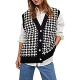 Sucastle Chalecos de suéter para mujer, chaleco de punto sin mangas, ropa de punto con cuello en V de gran tamaño, botón sin