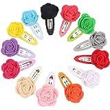 N M Z Baby Girl's Rose Flower Velvet Multicolour Hair Clip Barrettes - Set of 10