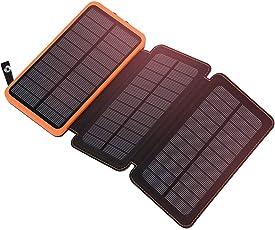 ADDTOP Solar Power Bank 24000mAh, Solar Ladegerät mit 3 Solar Panels Schnellladung Wasserdicht Externe Batterie LED-Taschenlampe Dual USB 2.1A für iPhone, Samsung Galaxy, iPad, Android Handys (88Wh)
