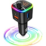 Transmisor FM Bluetooth,[2021 Versión 9 Colors Gran Apertura] 41W Carga Rápida Bluetooth Coche, [Pantalla Doble] Manos Libres
