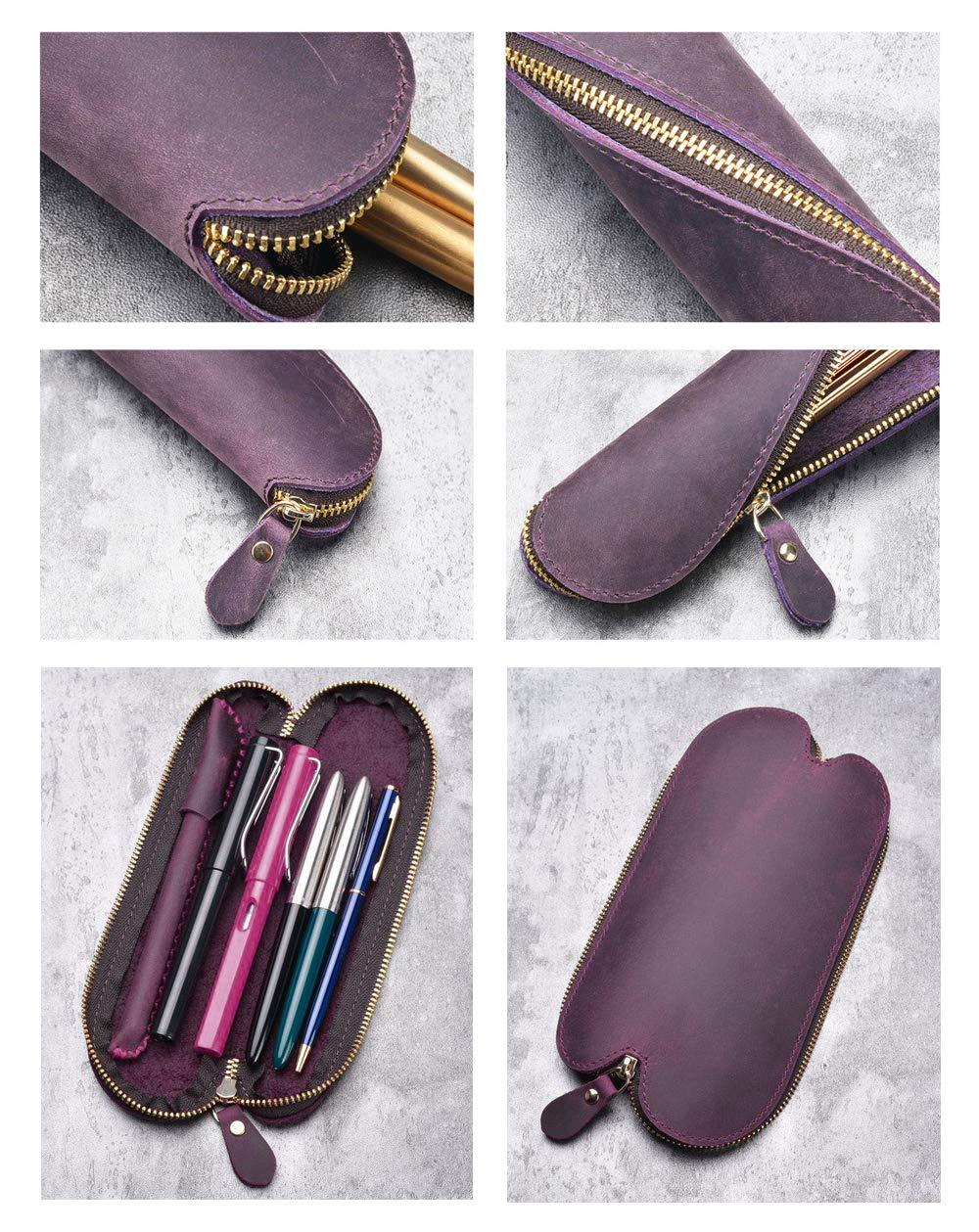 WOOWA Estuche de lápices de cuero, pequeño, vintage, hecho a mano, con cremallera, piel auténtica, para manualidades, bolígrafo en espiral, estuche para lápices, color verde oscuro