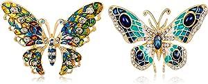 Spilla a Farfalla,Spilla Superba per Insetti,Spilla a Farfalla Color Olio Gocciolante,Gioielli Perfetti Unisex,con Una Bella Confezione Regalo, Slezione (2 Stili,2 Pezzi)
