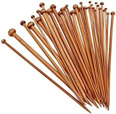 SODIAL(R) Premium Collection Set of 36 Single Point Bamboo Knitting Needles, 9.8 Inch,18 Different Sizes (2MM- 10MM)