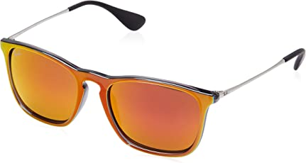 Ray-Ban Mirrored Square Men's Sunglasses - (0RB418763206Q54|53|Brown Mirror Orange Color)