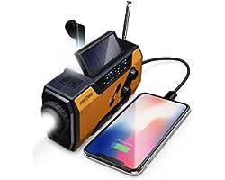 FosPower Radio d'urgence Météo 2000mAh (modèle A1) solaire/manivelle/à piles chargeur de batterie portable avec AM/FM, Lampe
