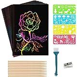 SIMEIXI Juego de Papel artístico para rascar para niños, 100 Piezas de Papel rascador mágico arcoíris, 10 bolígrafos de Mader