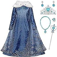 Kolsplay La Reine des Neiges Elsa Princesse Robe Fille Bleu Col Blanc Duvet Manche Longue Cape Tulle Glace Neiges…
