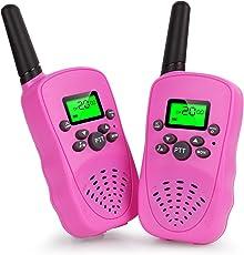 Vandora Walkie Talkies for Kids, Two-Way Radio Long Range Walky Talky, Kids Creative Electronics Birthday Christmas Toys Girls/Boys (Pink)