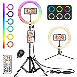 """WWDOLL Anillo de luz LED Selfie con 26 RGB Colores, 10"""" Aro de luz con 2 Trípodes Reemplazable, 4 RGB Flash Modos y 9 Brillos"""