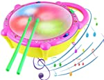 Popsugar Flash Drum with Sticks - Pink and Yellow