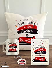 "Aldivo Gift for Teacher Combo Pack (12"" X 12"" Cushion Cover with Filler + Printed Coffee Mug +Greeting Card + Printed Key Ring)"