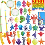 CozyBomB Magnetic Fishing Toys Game Set for Kids for Bath Time Pool Party with Pole Rod Net, Plastic Floating Fish…