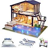 CUTEROOM Kit de Maison de Poupée Miniature en Bois de Bricolage - Appartement de Temps avec la Piscine et la Boîte à Musique